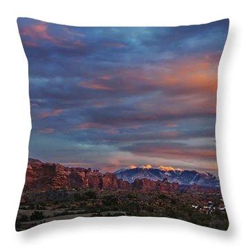 The Sun Sets At Balanced Rock Throw Pillow by Roman Kurywczak