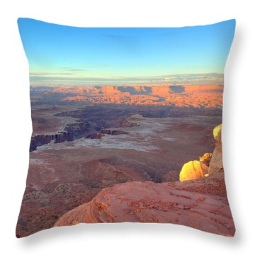 The Sun Sets On Canyonlands National Park In Utah Throw Pillow by Alan Vance Ley