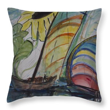 Throw Pillow featuring the painting The Sunflower Journey by Avonelle Kelsey