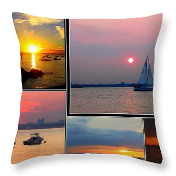 The Sunsets Of Long Island Throw Pillow by Dora Sofia Caputo Photographic Art and Design