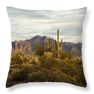 The Superstition Mountains Throw Pillow