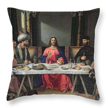 The Supper At Emmaus Throw Pillow by Vittore Carpaccio