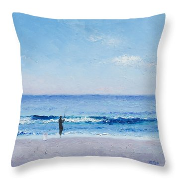 The Surf Fisherman Throw Pillow by Jan Matson