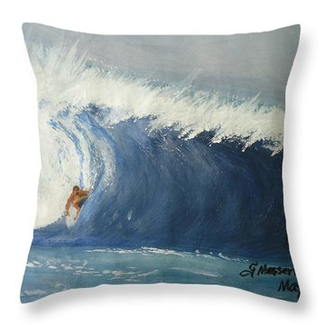 The Surfing Throw Pillow by Fladelita Messerli-