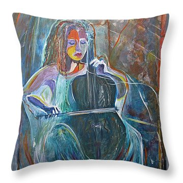 Throw Pillow featuring the painting The Swan Of Saint-sanz by Diana Bursztein