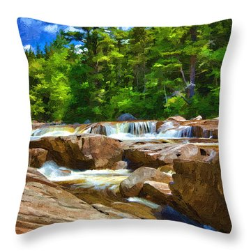 The Swift River Beside The Kancamagus Scenic Byway In New Hampshire Throw Pillow