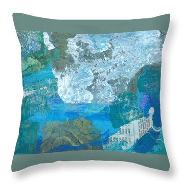 Throw Pillow featuring the mixed media The Swimmer by Catherine Redmayne