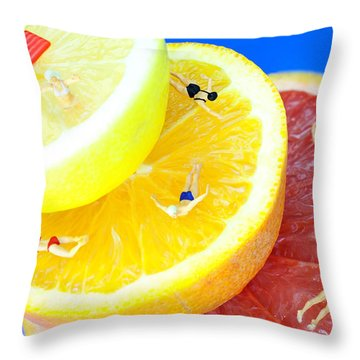 The Swimming Pool Little People On Food Throw Pillow