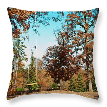 The Swing With Red Bicycle - Davidson College Throw Pillow