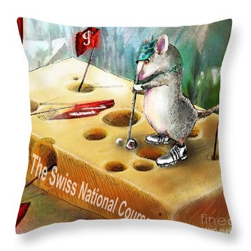 The Swiss National Course Throw Pillow by Miki De Goodaboom