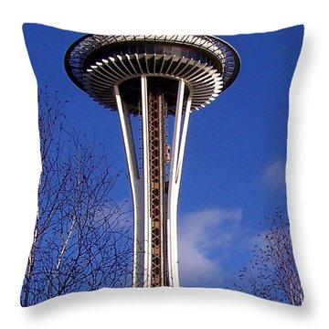 Throw Pillow featuring the photograph The Symbol Of Seattle by Kathy  White