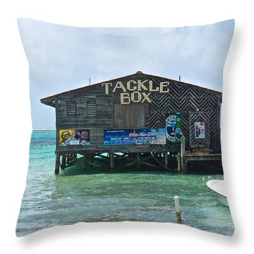 The Tackle Box Sign Throw Pillow by Kristina Deane