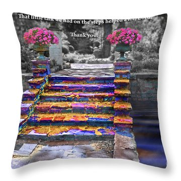 The Talk Version One Throw Pillow by Margie Chapman