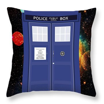 The Tardis Throw Pillow by Nishanth Gopinathan