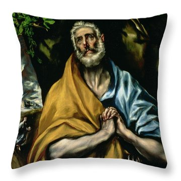 The Tears Of St Peter Throw Pillow by El Greco Domenico Theotocopuli