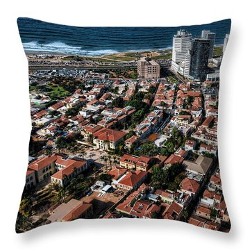 Throw Pillow featuring the photograph the Tel Aviv charm by Ron Shoshani