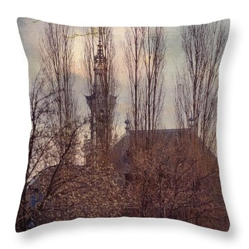 The Temple Bell Dies Away 2. Pink Spring In Amsterdam Throw Pillow by Jenny Rainbow
