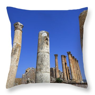 The Temple Of Artemis At Jerash Jordan Throw Pillow by Robert Preston