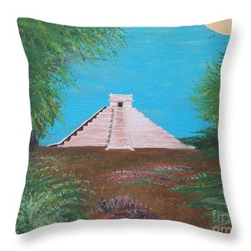 Throw Pillow featuring the painting The Temple Of Kukulcan by Alys Caviness-Gober