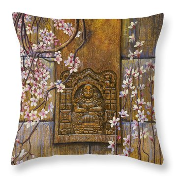 The Temple's Wall Throw Pillow by Vrindavan Das