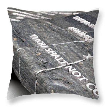 The Ten Commandments Throw Pillow by Allan Swart