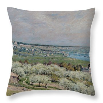 The Terrace At Saint Germain Throw Pillow by Alfred Sisley