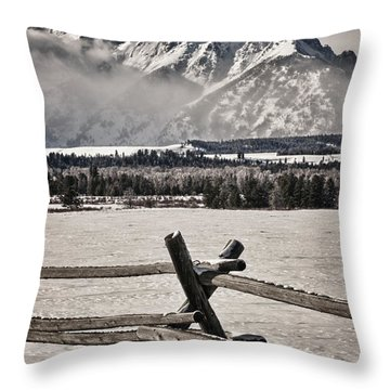 The Teton Mountain Range Throw Pillow