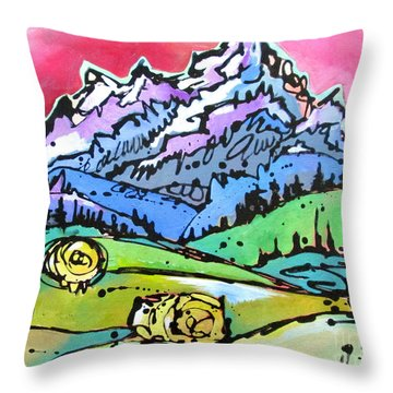 The Tetons From Walton Ranch Throw Pillow