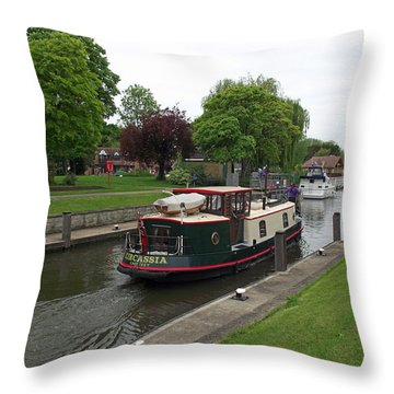 Throw Pillow featuring the photograph The Thames At Penton Hook Lock by Jayne Wilson