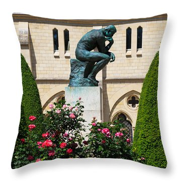 The Thinker By Auguste Rodin Throw Pillow by Louise Heusinkveld