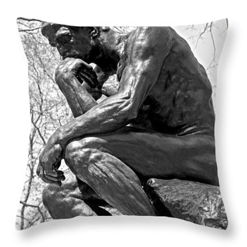 The Thinker In Black And White Throw Pillow