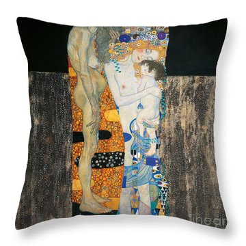 The Three Ages Of Woman Throw Pillow by Gustav Klimt