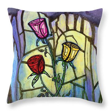 The Three Roses Throw Pillow by Terry Webb Harshman