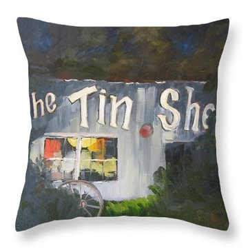The Tin Shed Throw Pillow by Susan Richardson