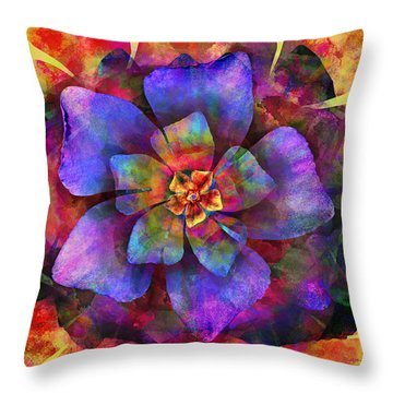 The Tiny Purple Flower Throw Pillow by Steven Llorca