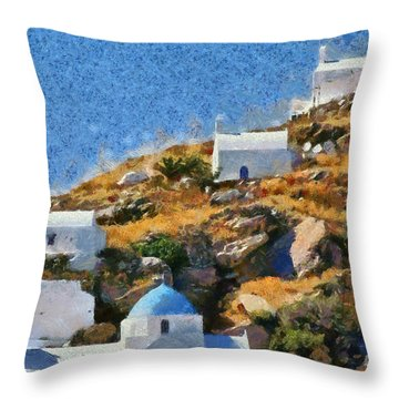 The Top Of Ios Town Throw Pillow