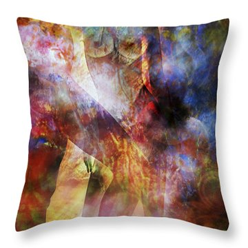 Throw Pillow featuring the mixed media The Touch by Ally  White