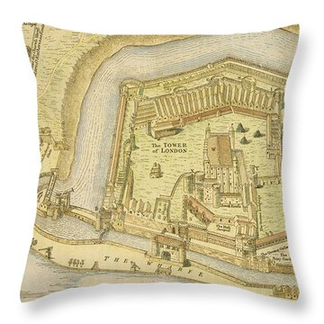 The Tower Of London, From A Survey Made Throw Pillow by English School