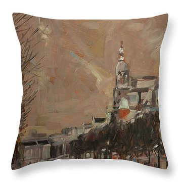 Throw Pillow featuring the painting The Tower Of Metz And Co Amsterdam by Nop Briex
