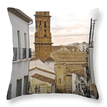 The Town Tower Throw Pillow by Suzanne Oesterling