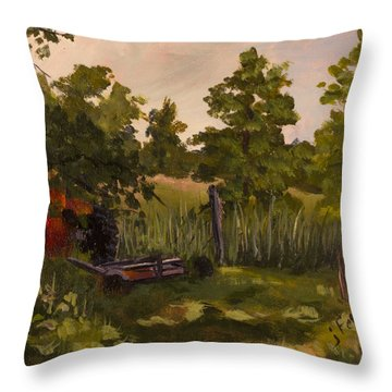 The Tractor By The Gate Throw Pillow by Janet Felts