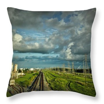 The Train Yard Throw Pillow