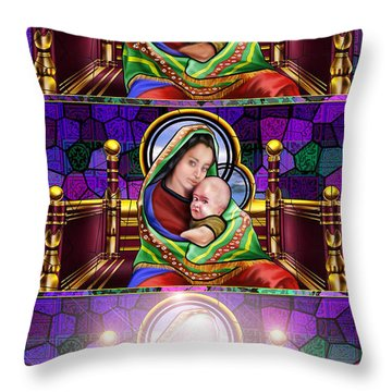 The Transfiguration Of Madonna And Child  Throw Pillow by Reggie Duffie