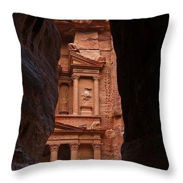 The Treasury Seen From The Siq Petra Jordan Throw Pillow by Robert Preston