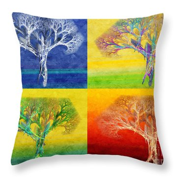 The Tree 4 Seasons - Painterly - Abstract - Fractal Art Throw Pillow by Andee Design