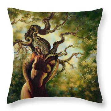 Throw Pillow featuring the painting The Tree by Anna Ewa Miarczynska