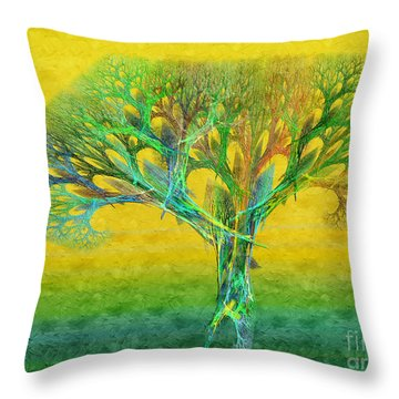 The Tree In Summer At Sunrise - Painterly - Abstract - Fractal Art Throw Pillow by Andee Design