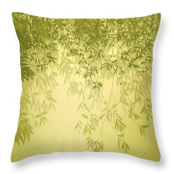 The Trees First Light Throw Pillow by Holly Kempe