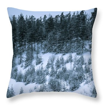 The Trees Of The Snowy Hill Throw Pillow