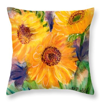 Throw Pillow featuring the painting The Trio by Margaret Bobb